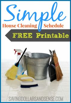 simple house cleaning schedule