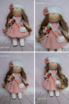 Tilda doll Handmade doll Fabric doll pink brown color Soft doll Cloth doll Baby…