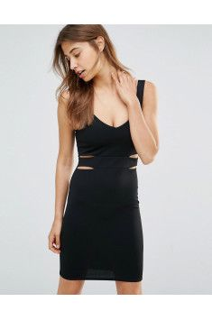 Oh My Love - Oh My Love Mini Bodycon Dress With Cut Outs - Black