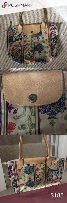 RARE Longchamp Tote Purse Velvet w/ Beige Leather RARE beautiful multicolored Longchamp tote purse. Great condition! Beige leather longer straps. Magnetic flower clasp. Longchamp Bags Totes