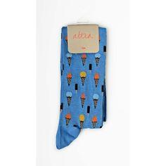 Altea Ice Cream Socks in Sky Blue Cotton ($19) ❤ liked on Polyvore featuring intimates, hosiery, socks, sky, multi colored socks, colorful socks, patterned hosiery, multi color socks and cream socks