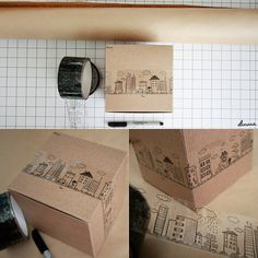 Coolest packing tape EVER! Tea Packaging, Packaging Design, Craft Gifts, Diy Gifts, Gift Wraping, Tape Art, Envelope Art, Origami, Decorative Tape