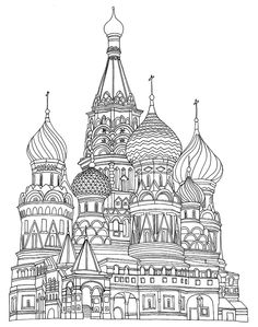 Free adult coloring page coloring-adult-saint-basil-cathedral-red-square-moscow. Adult coloring page of the Saint Basil's Cathedral, in Red Square in Moscow. By Sofian Davlin Publishing Free Adult Coloring Pages, Free Printable Coloring Pages, Coloring Book Pages, Coloring Sheets, Saint Basile, St Basil's, Doodle Art, Line Art, Illustrators