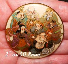 "RARE Satsuma 2"" HUGE Ceramic Button of Seven Gods of Good Fortune 50.8mm #Satsuma"