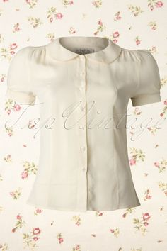 The Seamstress of Bloomsbury - 40s Jive Blouse in Cream Crepe de Chine