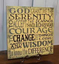 hand painted serenity prayer wall mural on wood panel by bonnielecat on etsy available in custom colors
