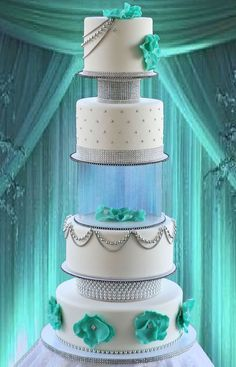 Tiffany Blue Adorned Quinceanera Cake with Swarovski Crystals