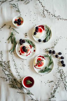 Lavender Panna Cotta with Blackberry Gin Syrup