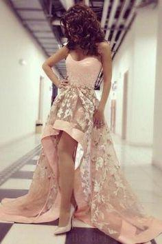 Prom Dresses A-Line #PromDressesALine, Prom Dresses 2018 #PromDresses2018, Prom Dresses Lace #PromDressesLace, Prom Dresses High Low #PromDressesHighLow Blush Pink Prom Dresses, Strapless Prom Dresses, High Low Prom Dresses, Tulle Prom Dress, Lace Evening Dresses, Elegant Dresses, Homecoming Dresses, Cute Dresses, Evening Gowns