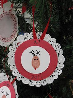 Reindeer ornament: made this with my kids for the grandparents this year (2013) turned out cute!