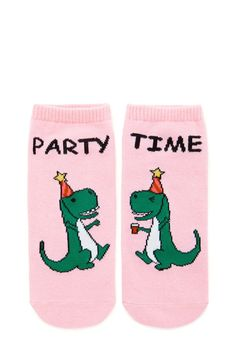 """A pair of knit ankle socks with a split """"Party Time"""" dinosaur graphic and a ribbed trim."""