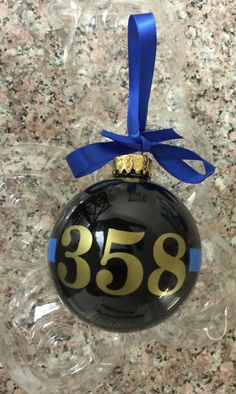 Sheriff and Police Christmas ornament Thin Blue line Christmas Ornament. -Black Glass ornament with the thin blue line