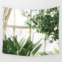 Tropical Greenhouse Botanical Plants Wall Tapestry