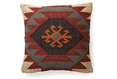 """Kilim 20x20 Wool-Blend Pillow, Red on OneKingsLane.com  Designed by Divine Designs exclusively for One Kings Lane.   SEE ALL: Pillows Shop Now > PRODUCT INFORMATION Made of:front, wool/jute; back, velvet; insert, polyesterSize:20"""" x 20""""Color:front, black/red/beige; back, blackCare:Dry-clean. SHIPPING & RETURNS Estimated  Arrival: Jul 04 - Jul 09Returns: Returns accepted within 14 days of delivery. This event ends on 07/03 at 8am PST"""
