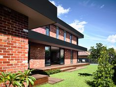 California - design home with recycled brick in the exterior and stylish bright interior - CAANdesign Modern Brick House, Modern House Facades, Brick Facade, Facade House, House Exteriors, House Cladding, Recycled Brick, Solar Panel Cost, Indian Homes