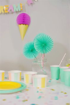 Ice Cream Party!  Mint, Yellow, Pink, Purple and Blue. Party in a box, one purchase, quick set up and all of a sudden, you have a 'PartyMade' that is pinterest worthy! Party In A Box, For Your Party, 1st Birthday Banners, Birthday Parties, Ice Cream Party, Blue Party, Pinwheels, Paper Goods, Pink Purple