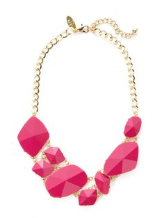 Multi-Shape Pink Geometric Bib Necklace by Cara Couture Jewelry on Gilt