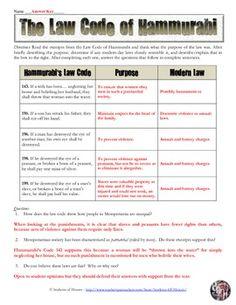code of hammurabi worksheet education pinterest worksheets social studies and history. Black Bedroom Furniture Sets. Home Design Ideas