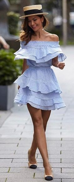 #summer #outfits Blue Ruffle Off The Shoulder Dress