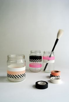 Washi tape has easily taken the crafting world by storm, and we can see why. Anything that adds instant pattern and color is top dog in our book. Try wrapping a few coordinating patterns of tape around clean jars, and you'll be rewarded with a personality-packed place to rest your makeup brushes, desktop pens, or a bunch of fresh flowers.