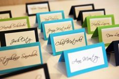 Wedding Name Place Cards. $0.75, via Etsy. Love the blue color!