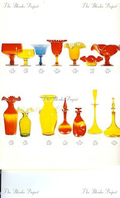 The Blenko Project is dedicated to recording the past, analyzing the present and being an advocate for the growth and preservation of BLENKO GLASS. Peach Orange, Yellow, Blenko Glass, Rainbow Glass, Art Of Glass, Glass Collection, Vintage Glassware, Hurricane Glass, Preserves