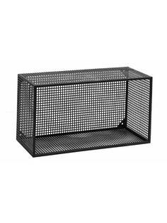 WIRE box til væg - sort metal - 2 stk. - L