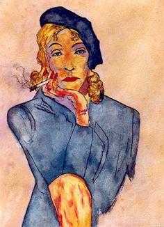4-Marlene Dietrich en Mujer fatal.  Pintura acuarela. 38x28cm ($240)  http://www.carmen-luna.com
