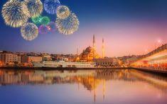Download wallpapers Istanbul, New Mosque, Turkey, Walide Sultan Mosque, fireworks, Black Sea, sunset