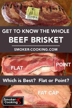 Learn about the different parts of the beef brisket, which include the flat and point sections, and the fat cap. The flat and point cook at different rates in the smoker. Beef Brisket Recipes, Smoked Meat Recipes, Grilling Recipes, Pork Recipes, Spinach Recipes, Recipies, Traeger Recipes, Healthy Recipes, Beef