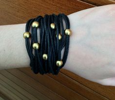 Bracelet, multi-cord bracelet, black waxed cord bracelet, brass bracelet, stackable bracelet, jewellery,gift for her by Tmlccreations on Etsy