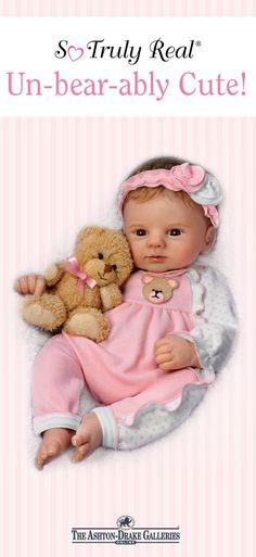 This So Truly Real doll by Master Doll Artist Violet Parker arrives with a soft plush teddy to match the one on her pink sleeper. Plus, she's poseable, so she can hold her furry friend in her arms! satisfaction guaranteed - Shop Now! Ashton Drake, Real Doll, Doll Stands, Baby Dolls, Arms, Plush, Crochet Hats, Teddy Bear, Shop
