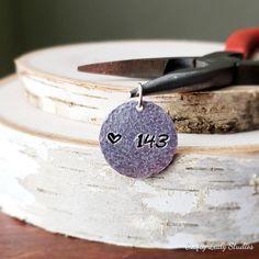 Hand-stamped 143 round aluminum pendant