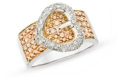 Cool sterling silver buckle ring with champagne & white diamonds.