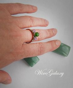 Ring with Chrysoprase and Amethyst Gemstone jewelry OOAK