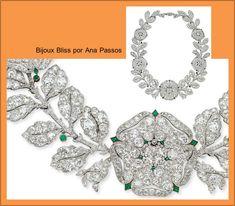 Categoria Espetáculo da Joalheria – Colar Églantine (Rosa Silvestre) com diamantes e esmeraldas em platina, da Maison Cartier – 1906