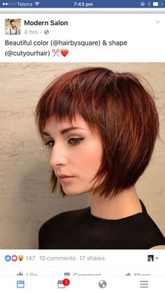 28 Adorable Short Layered Haircuts For The Summer Fun Layered Haircuts With Bangs, Short Hairstyles For Thick Hair, Short Hair With Layers, Short Hair Cuts, Short Hair Styles, Short Bob With Fringe, Layered Hairstyles, Hairstyles Haircuts, Sassy Haircuts