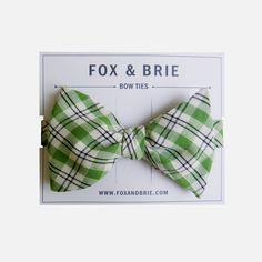 Green plaid bow tie
