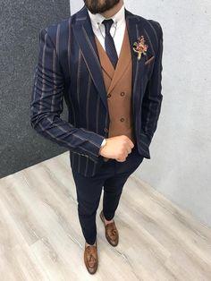 Marc Navy Striped Suit with Brown Vest – brabion Mens Tailored Suits, Mens Casual Suits, Dress Suits For Men, Slim Suit, Mens Fashion Suits, Mens Suits, Suit For Men, Blazer Outfits Men, Formal Men Outfit