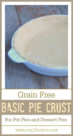 Grain Free Basic Pie Crust. Just because you are grain free does not mean you can't enjoy your favorite pie! This crust recipe works for everything from savory pot pies, to sweet pecan pies. The sky is the limit! It also freezes well. realfoodrn.com #grainfreepiecrust #piecrust