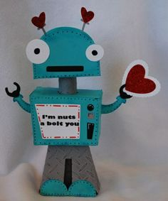The best Valentine's box for boys. Who said that Valentines has to be all pink and flowers? Hobby Lobby also sells a very cool Robot box (it's not the one on the pic but has the same idea)