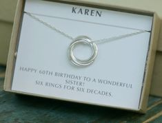 60th birthday gift 6 linked circle necklace by ILoveHoneyWillow