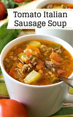 Zucchini Tomato Italian Sausage Soup - A zesty, super flavorful soup made with fresh zucchini and tomatoes. Sweet Italian sausage adds more great flavor too! Ground Beef Recipes Easy, Easy Soup Recipes, Cooking Recipes, Healthy Recipes, Simply Recipes, Keto Recipes, Casserole Recipes, Crockpot Recipes, Cooking Tips