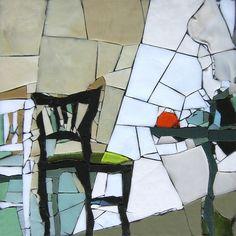 Hommage à Van Gogh. Pâte de verre Albertini - 340 x 340 mm sur support béton by Michelle Combeau