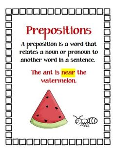 FREE - This packet contains:    -Preposition Word Bank  -Preposition assignment  -Writing assignment paper  -Suggestions for teaching prepositions.