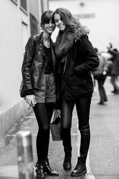 Models Off Duty: Antonina Petkovic & Pauline Hoarau - Street Style, MFW Fall 2015.