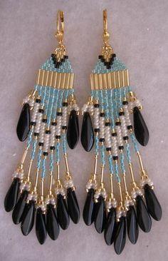 Native American Earrings - Light Aqua/Blk Dagger $22.00USD