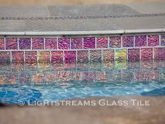 Gallery #43 | lightstreams Glass Pool Tile, Rectangle Pool, Swimming Pool Tiles, Tile Installation, Cool Pools, Pool Landscaping, Outdoor Entertaining, City Photo, Backyard
