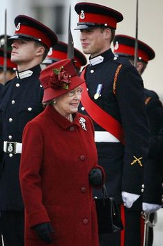 15 December 2006: Prince William breaks into a smile as he is inspected by his grandmother, the Queen.