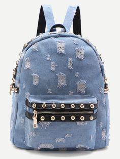 SheIn offers Beaded Trim Distressed Denim Backpack Source by de moda juveniles chicas Denim Backpack, Denim Bag, Backpack Purse, Fashion Backpack, Cute Mini Backpacks, Girl Backpacks, Justice Bags, Mochila Adidas, Backpack Online